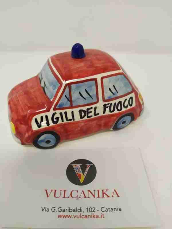 Fiat 500 Vigili del Fuoco in Ceramica di Caltagirone dipinta a mano