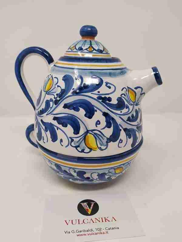 Teiera e tazza in Ceramica di Caltagirone