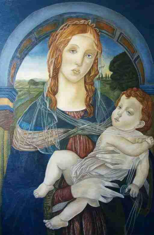 Madonna con Bambino Olio su Tela Artista Alessia Interdonato
