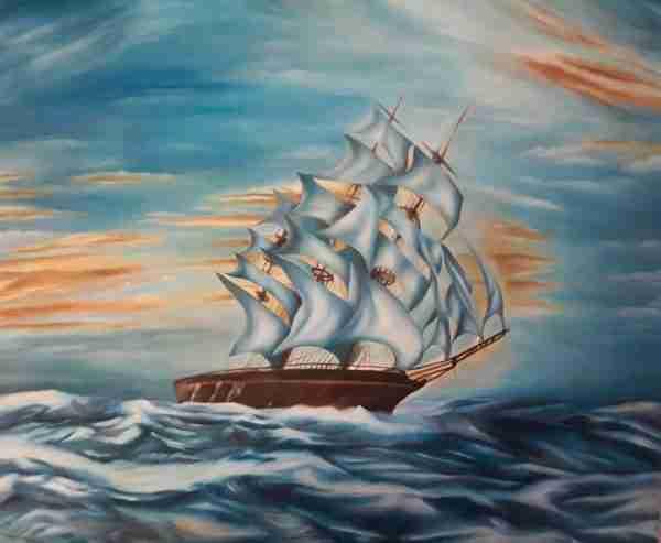 Veliero - Olio su tela - Artista Alessia Interdonato