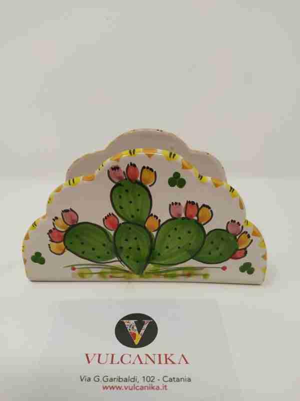 Portatovaglioli in ceramica di Caltagirone dipinto a mano