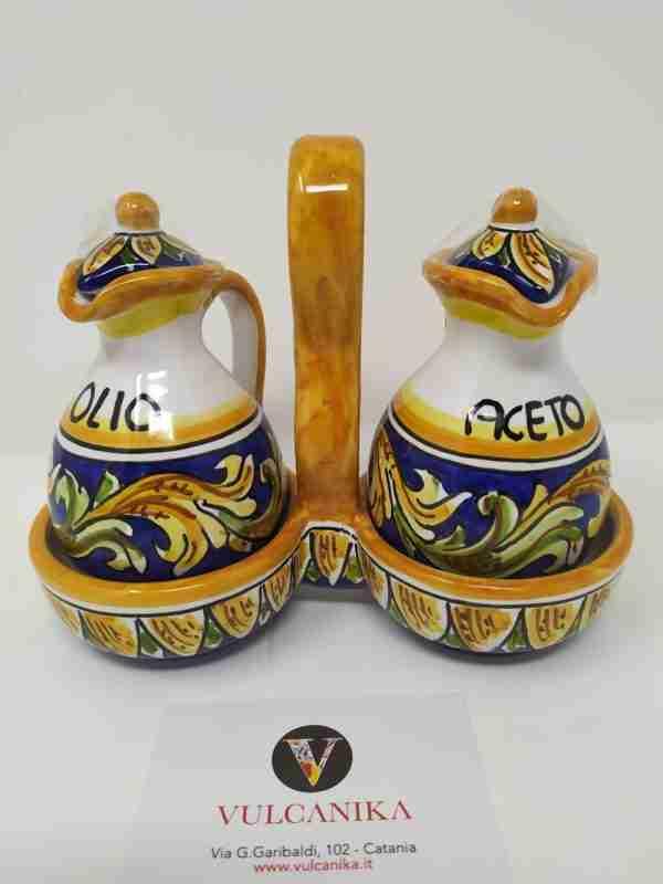Set olio-aceto in Ceramica di Caltagirone dipinta a mano
