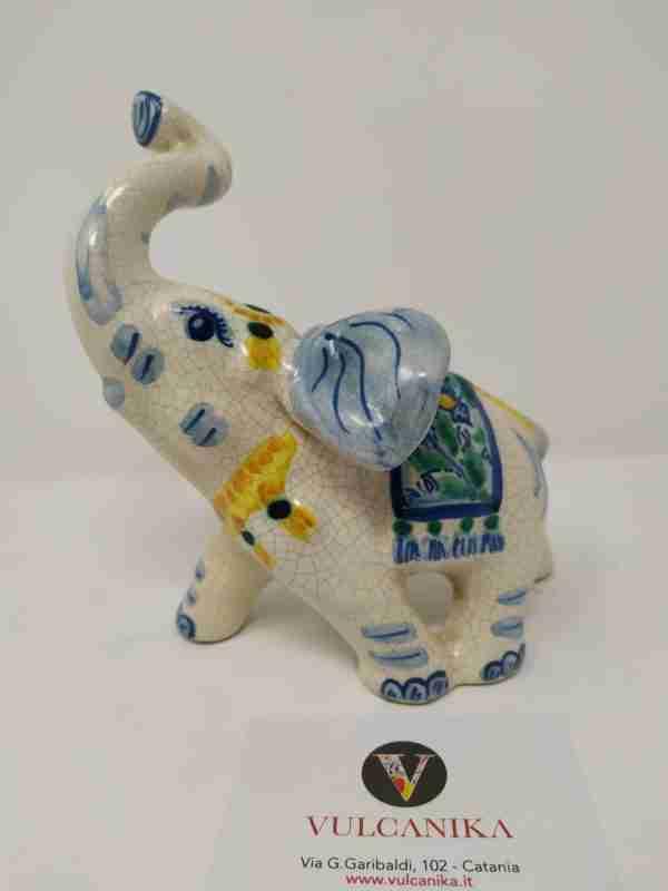 Elefante in Ceramica di Caltagirone dipinto a mano