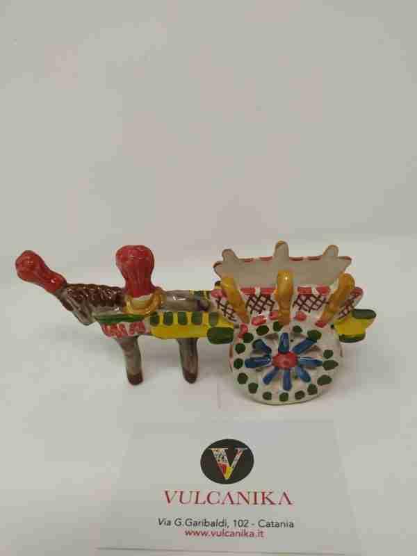 Carrettino Siciliano in Ceramica di Caltagirone dipinta a mano