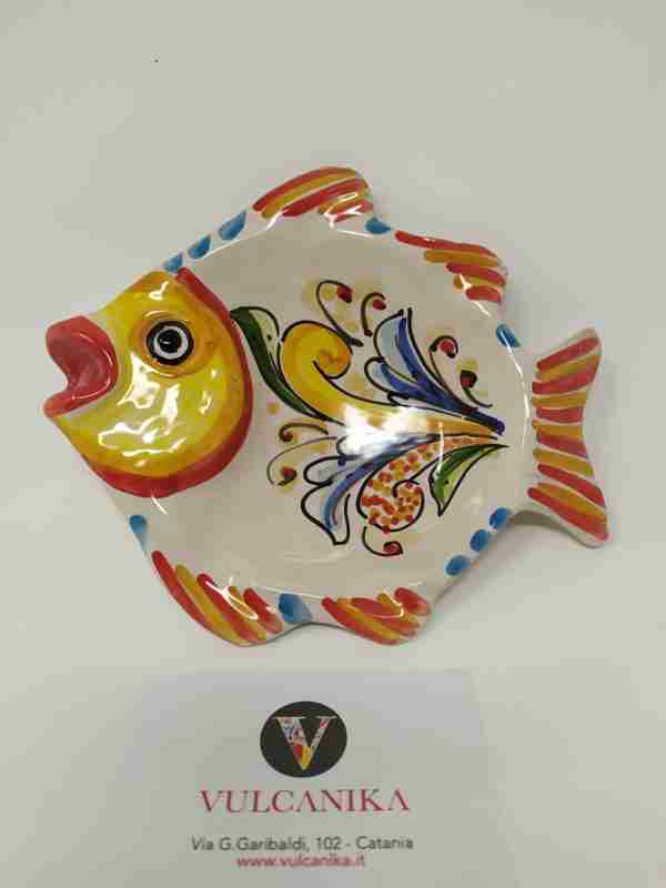 Pesce da appendere in Ceramica di Caltagirone dipinta a mano