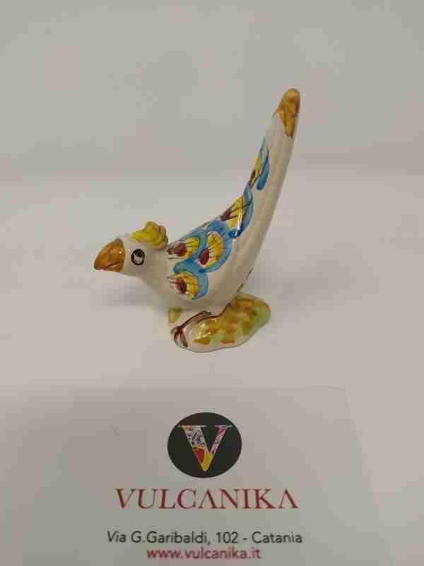 Pappagallo in Ceramica di Caltagirone dipinta a mano