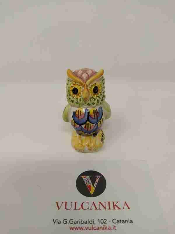 Gufo in Ceramica di Caltagirone dipinta a mano