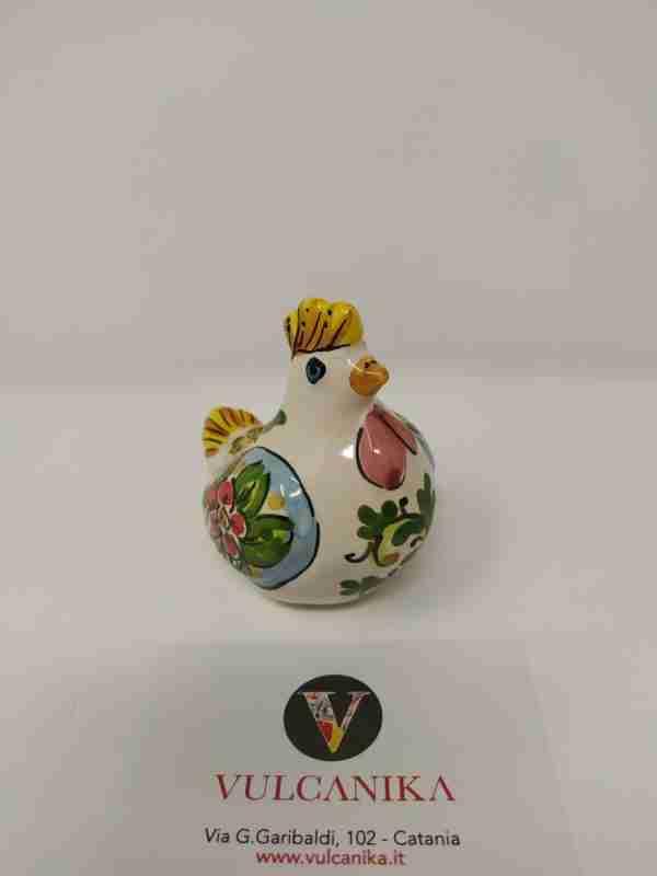 Gallina in Ceramica di Caltagirone dipinta a mano