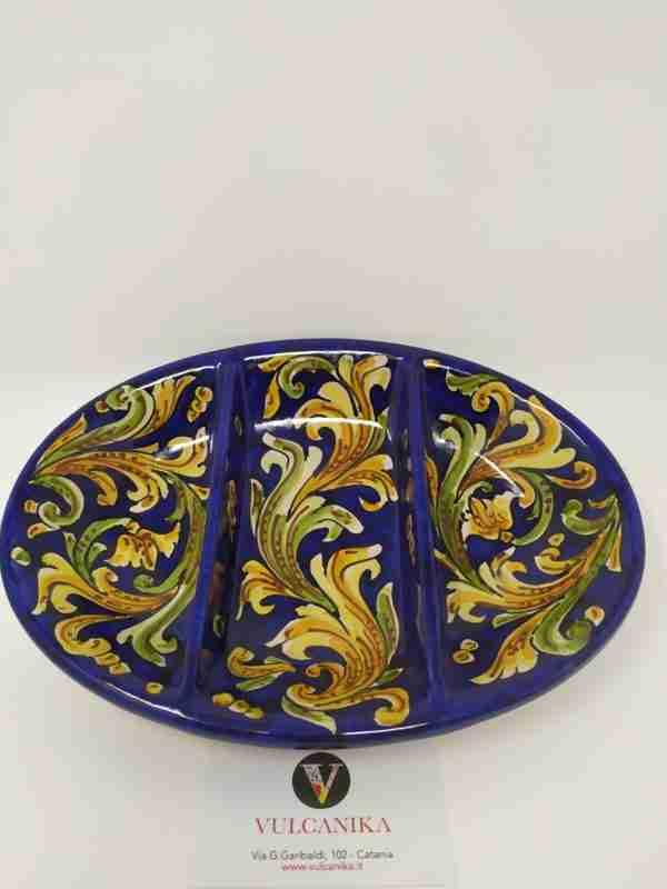 Antipastiera in Ceramica di Caltagirone dipinta a mano