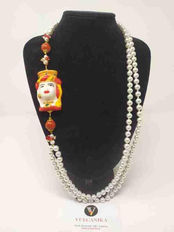 Collana perle e Ceramica di Caltagirone dipinta a mano