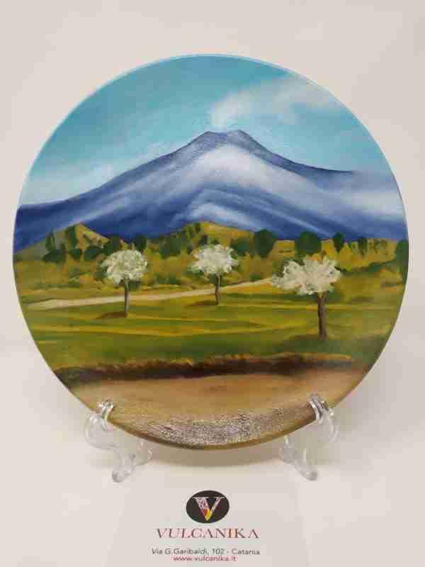 Piatto in terracotta dipinto a mano