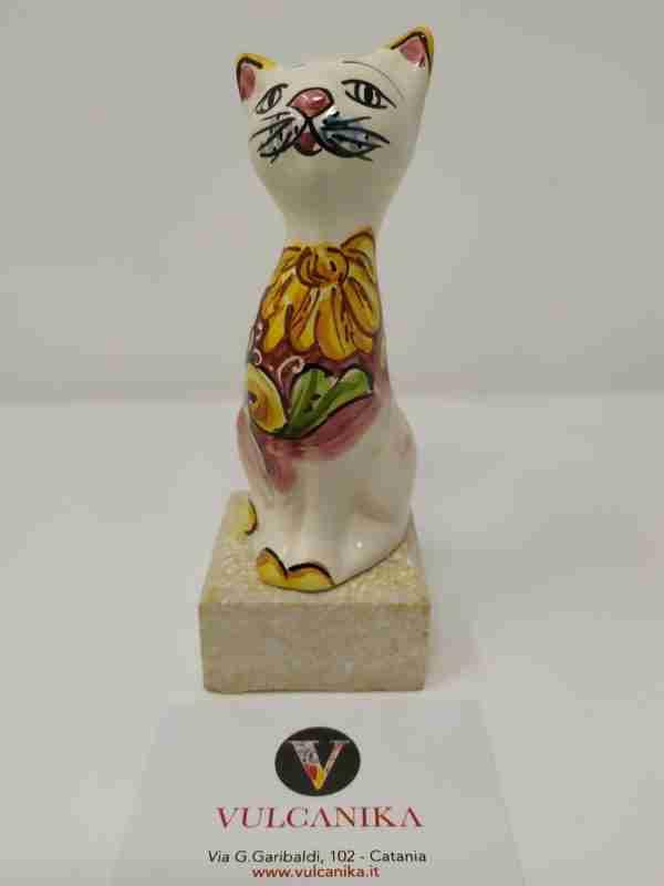 Gattino in Ceramica di Caltagirone dipinto a mano