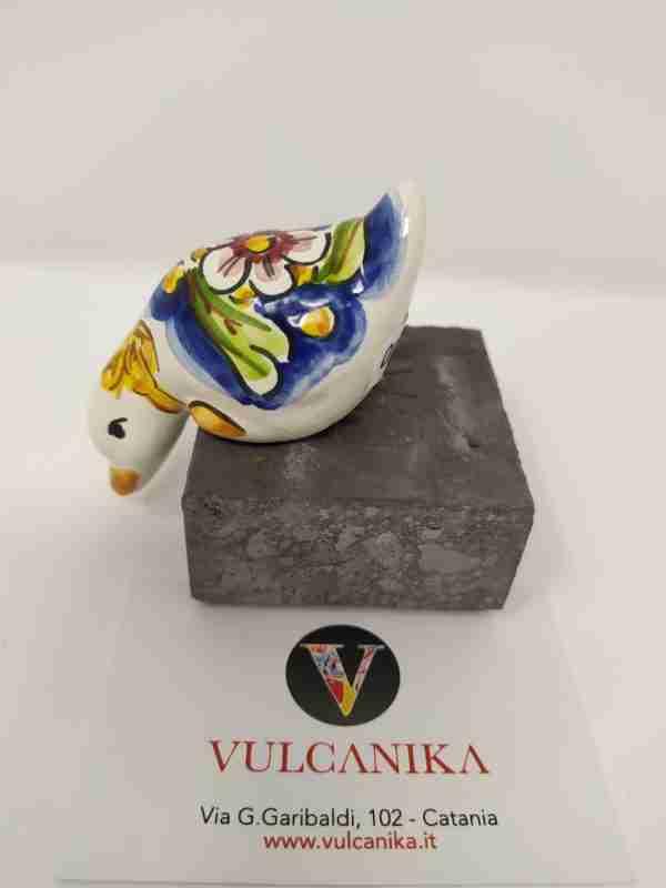 Anatra in Ceramica di Caltagirone dipinto a mano