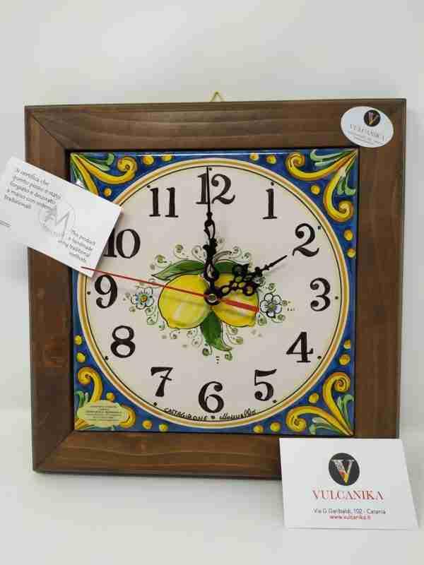 Orologio in Ceramica di Caltagirone dipinto a mano