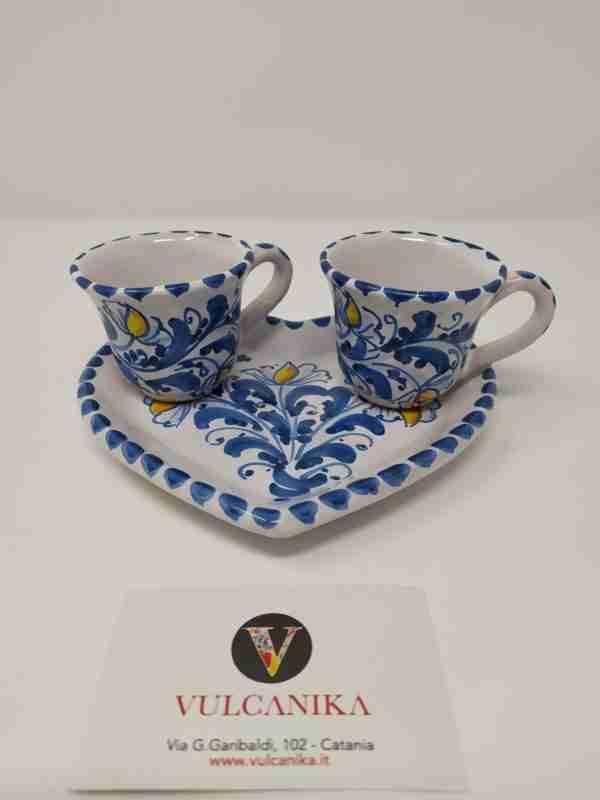 Servizio caffè x due in Ceramica di Caltagirone dipinto a mano