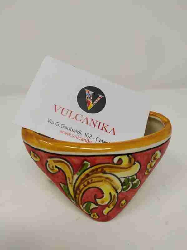 Porta bigliettini in Ceramica di Caltagirone dipinto a mano