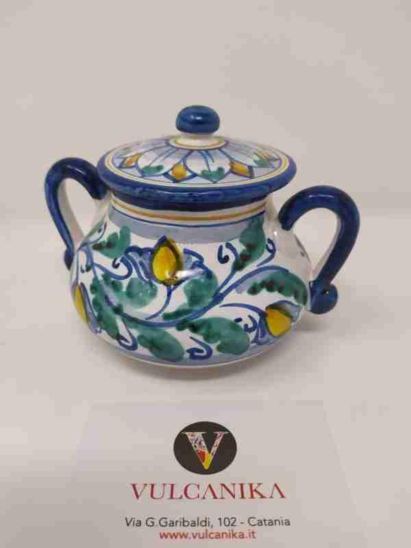 Zuccheriera in Ceramica di Caltagirone dipinta a mano