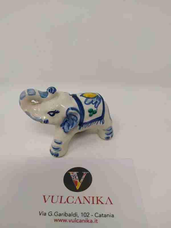 Elefantino in Ceramica di Caltagirone dipinto a mano