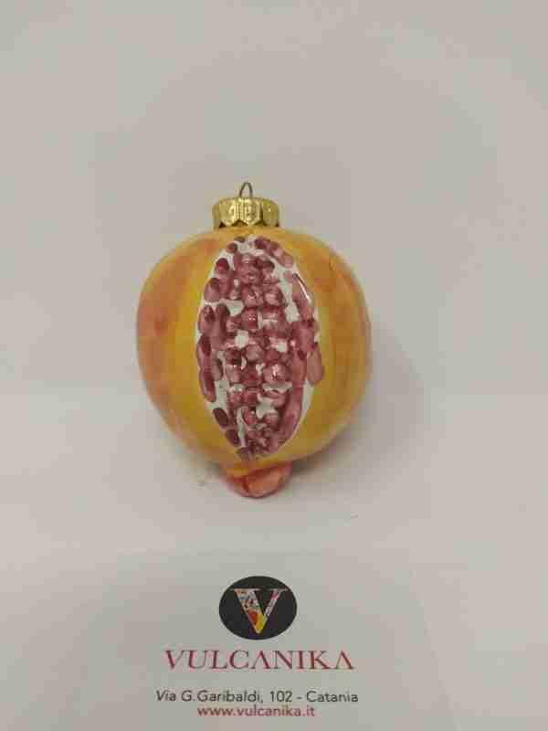 """Palla Natale """"Melograno"""" in Ceramica di Caltagirone"""