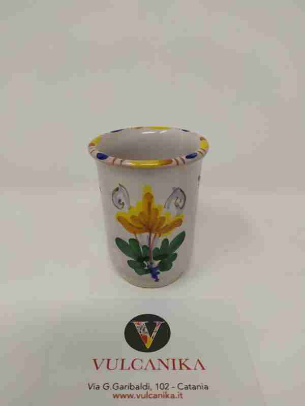 Vasetto in ceramica di Caltagirone dipinta a mano