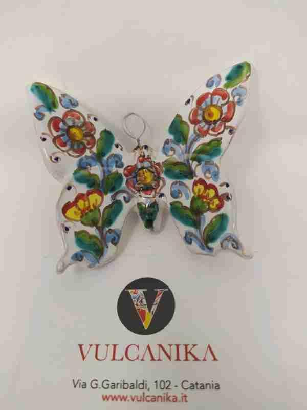 Farfalla In Ceramica Di Caltagirone Cm 13x13 Modellata E Dipinta A Mano,Maiolica