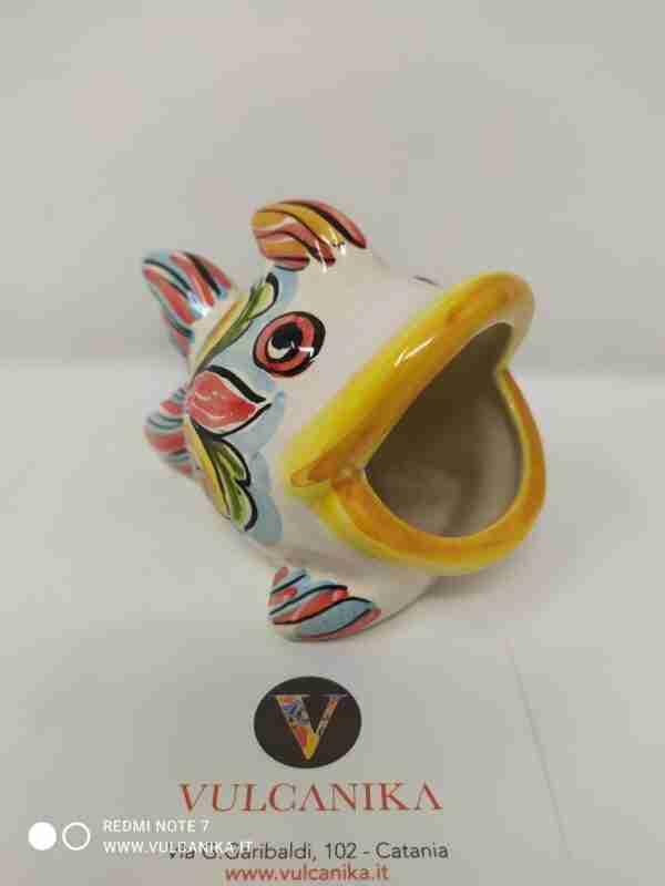 "Pesce ""bocca larga"" in Ceramica di Caltagirone dipinta a mano"