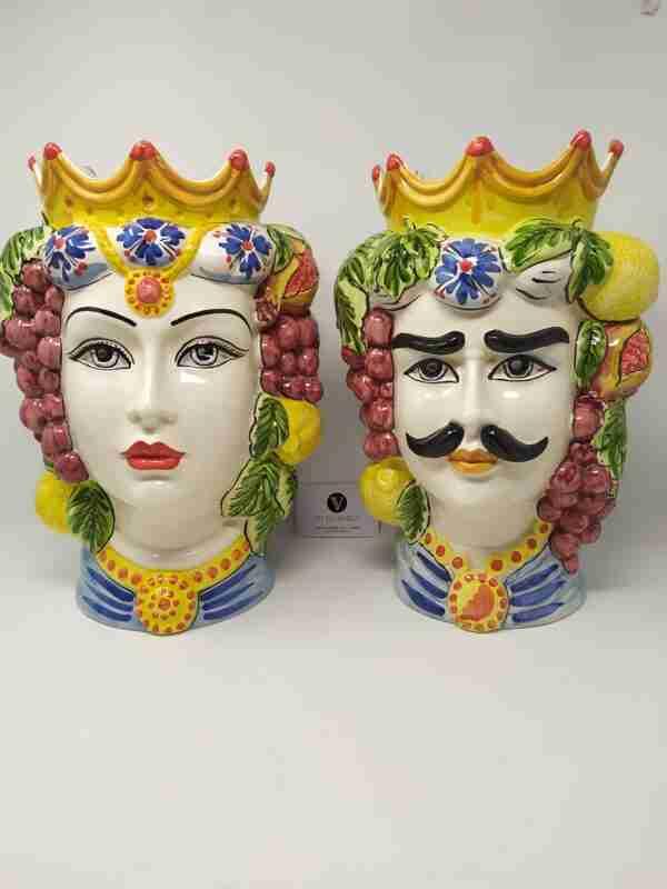 Teste di Moro in Ceramica di Caltagirone H 35 cm.