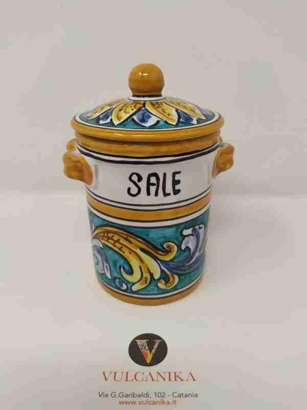 Barattolo porta sale in Ceramica di Caltagirone dipinta a mano