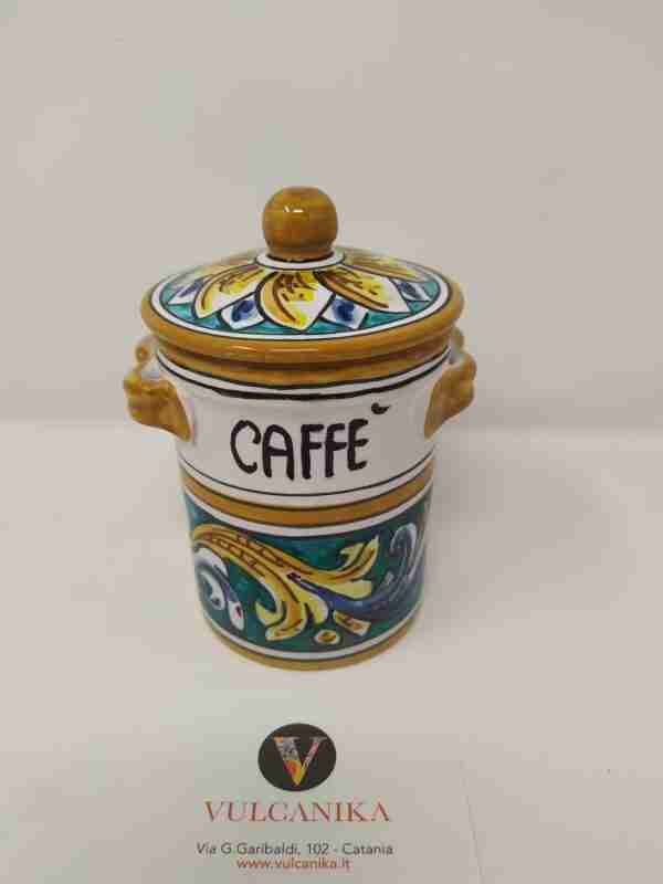 Barattolo porta caffè in Ceramica di Caltagirone dipinta a mano
