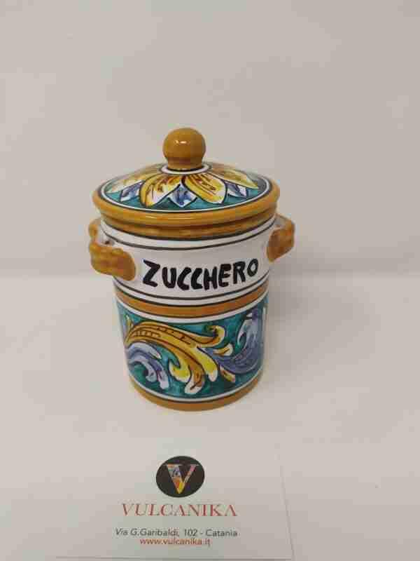 Barattolo porta zucchero in Ceramica di Caltagirone dipinta a mano