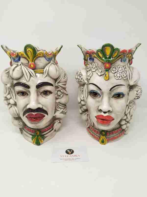 Coppia Teste di Moro in Ceramica di Caltagirone dipinta a mano - Bellissime per arredare qualsiasi ambiente della vostra casa