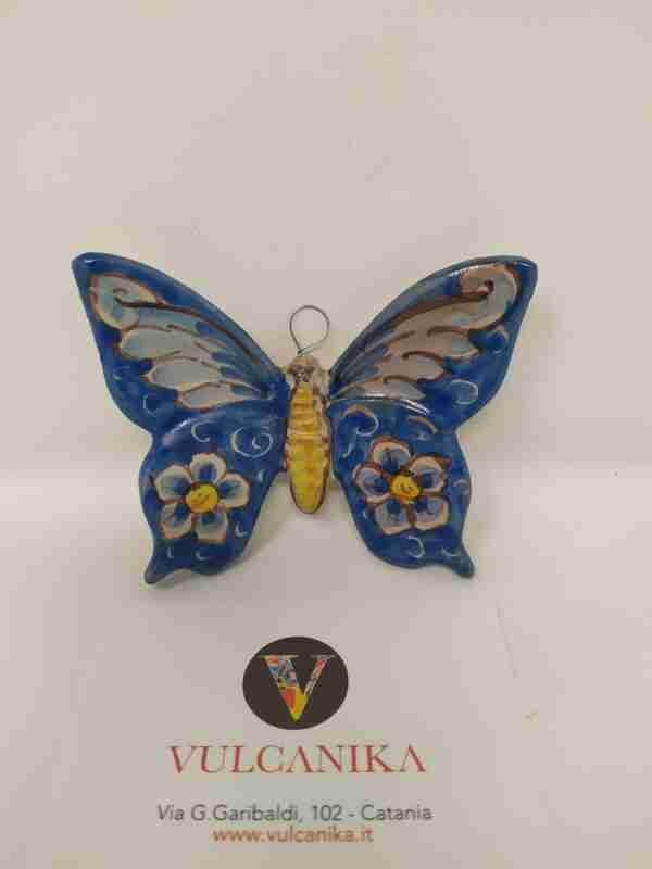 Farfalla in ceramica di Caltagirone dipinta a mano