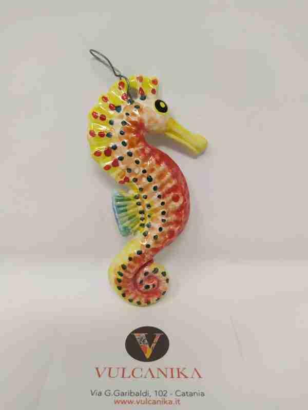 Cavalluccio marino in Ceramica di Caltagirone dipinta a mano