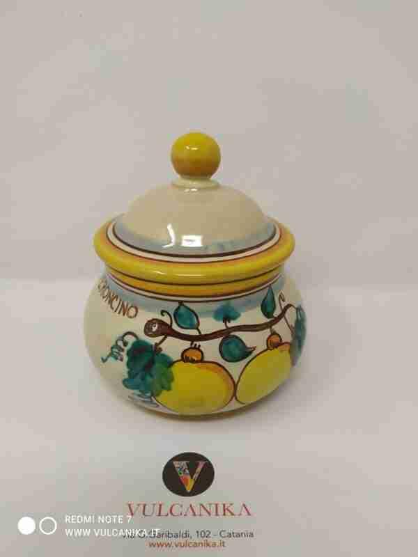 Porta peperoncino in Ceramica di Caltagirone dipinta a mano