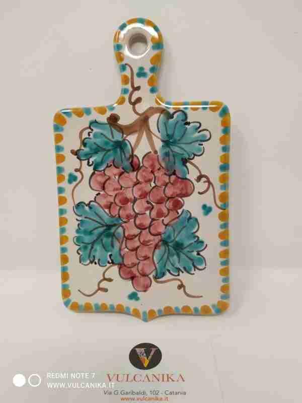 Tagliere in ceramica di Caltagirone dipinta a mano