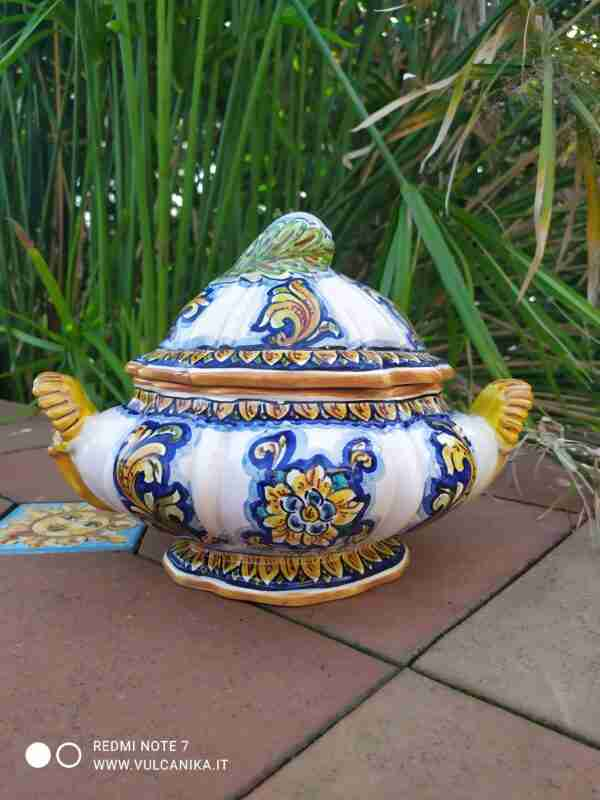 Biscottiera in Ceramica di Caltagirone dipinta a mano